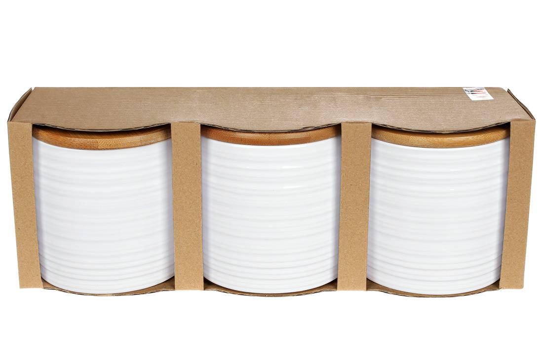 Набор банок с бамбуковыми крышками